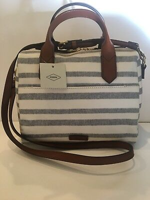 8ad38a16bc NWT FOSSIL FIONA SATCHEL-Blue Stripe MSRP  128 -  75.00