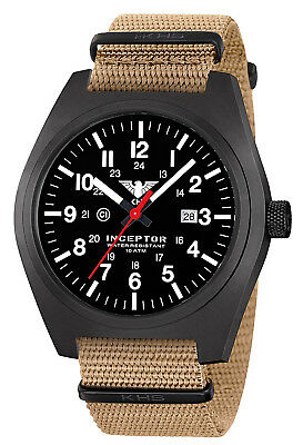 KHS Tactical Watches Inceptor C1-Light Date Nato Band Swiss Movement Black Steel