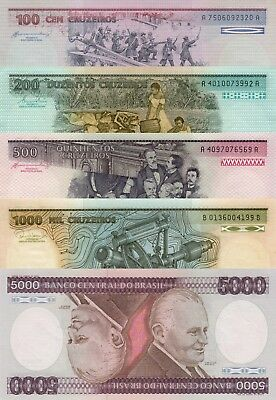 Brazil 5 Note Set: 100 to 5000 Cruzieros (ND/1984) - p198b to p202c UNC