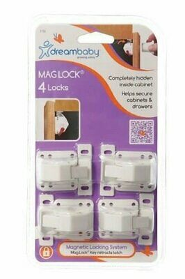 DreamBaby Mag Lock 4 pk - Child Proof Safety Magnetic Cabinet Door Locks L154
