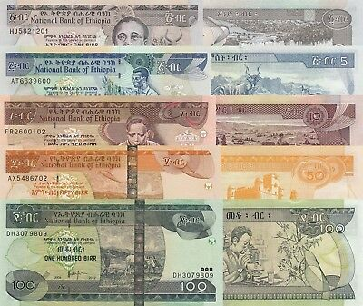 Ethiopia 5 Note Set: 1 to 100 Birr (2006/2012) - p46d, p47d, p48e, p51e and p52f