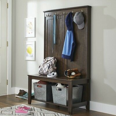 Superb Coat Shoe Storage Bench Cabin Creek Hall Tree Wood Living Machost Co Dining Chair Design Ideas Machostcouk