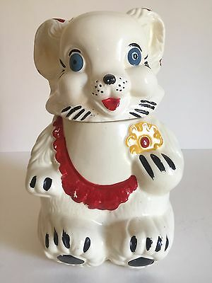 Vintage 1940's Royal Ware Smiling Bear With Cookie Ceramic 2Pc Cookie Jar