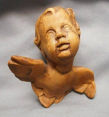 Small Old European Hand Carved Natural Wood Winged Cherub or Cupid Head