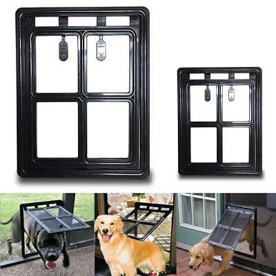 Large Pet Cat Dog Lockable Flap Door Easy Screen Entry Gate Extra Pet Door Hole