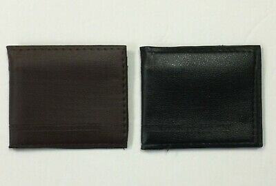 Mens Synthetic Leather Casual Wallet 3 Layers 2 Solid Color Black, Brown