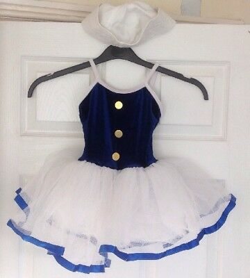 Young Girls - Navy & White Leotard Sailor Outfit & Matching Hat - Size 5-7 Years