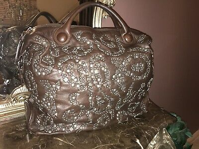 💫 Fabulous RARE New Large Francesco Biasia Brown Leather Studded Bag
