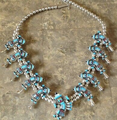 RARE Sterling RAINBOW DANCER Squash Blossom Zuni Necklace Kachina James Mason