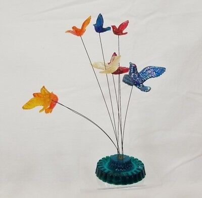 60s New Designs Lucite Bird Motion Kinetic Wire Sculpture Blue MCM Missing Birds