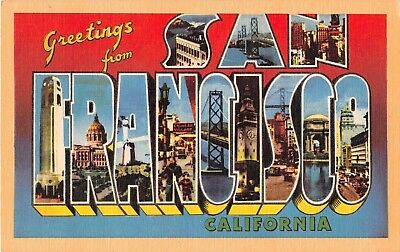 San Francisco California CA Greetings From Bay Large Letter Linen Postcard