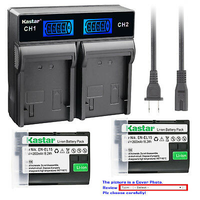 Kastar Battery LCD Rapid Charger for Nikon Original EN-EL15 Nikon Genuine MH-25A
