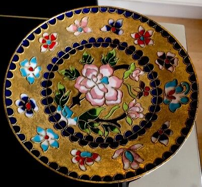 Vintage Chinese Cloissone Enamel Small Floral Plate Gold Plated 6.25 Inches