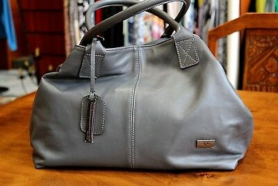 VERSACE 19.69 Women s 100% Leather Heavy Grey Handbag Free Shipping Italy  Made 7e670c904dd6a