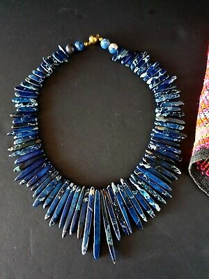 Old Blue Stone Necklace with Magnetic Catch …beautiful accent / collection piece