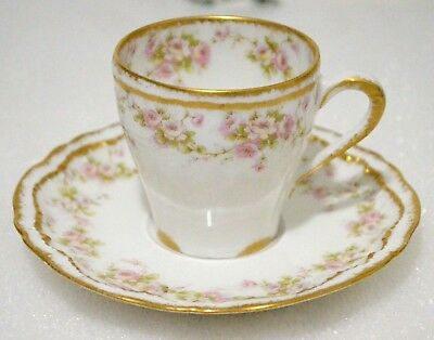 Haviland Limoges France  # 844 Double Gold Demitasse Cup Saucer Set
