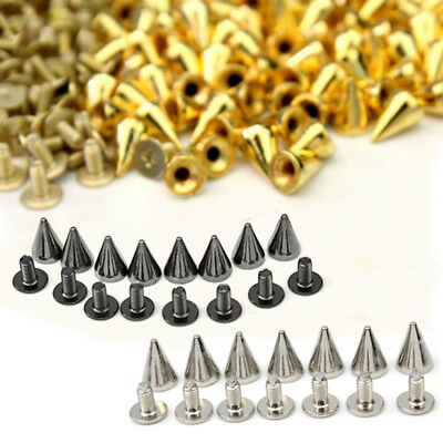 100X Silver Metal Studs Rivet Bullet Spike Cone Screw Leather Craft DIY 7X10mm