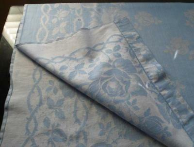 Vintage Blue Dotted Damask Tablecloth Roses Hemstitch 85""