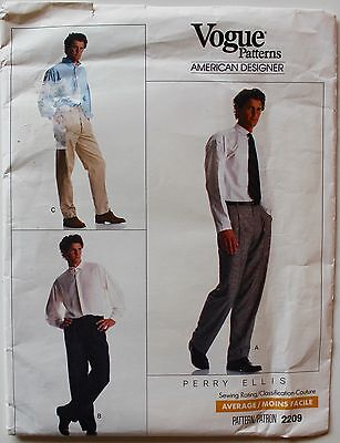 Vtg Vogue 2209 Mens Pants ~ PERRY ELLIS COUTURE American Designer Sz 26-28-30 UC