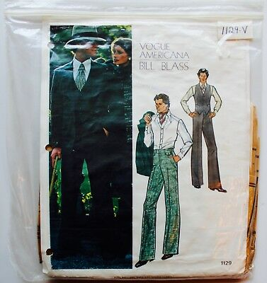 Vtg Vogue Americana #1129 ~MENS BILL BLASS SUIT Jacket Pants Vest Sz 38
