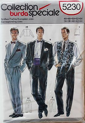 Burda 5230 Tuxedo Waistcoat Pants Formalwear Pattern Mens Sizes 36-44 UC/FF