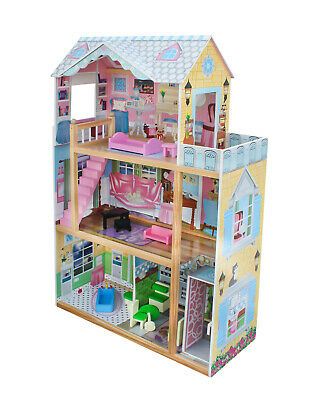 Wooden Doll House 12 pc Furniture Girls Pretend Play Toy Dollhouse