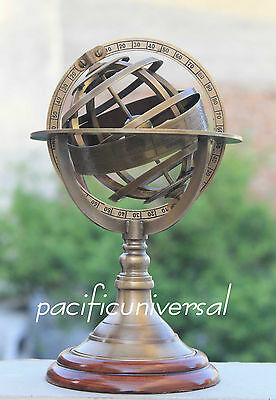 "Nautical Antique Brass Armillary With Wooden Base Vintage World Sphere Globe 8""."