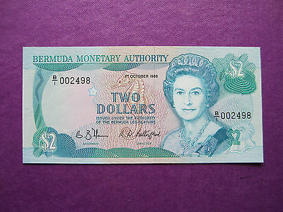 1988 Bermuda Monetary Authority Two (2) Dollars  Bank Note ~ Uncirculated
