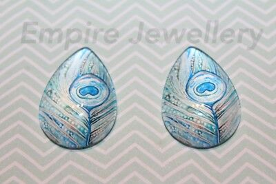2 x Blue Feather 25x18mm TEARDROP Glass Dome Cabochon Cameo Bird Peacock