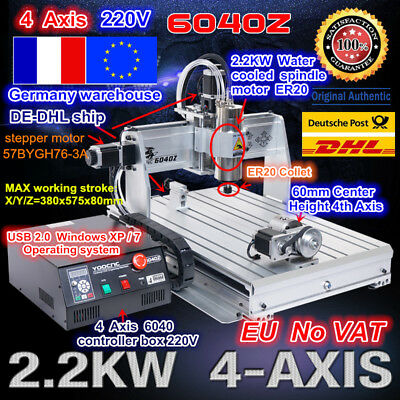 【FR】 4 Axis USB CNC 6040 Router 2.2KW Spindle Engraving Milling Cutting Machine