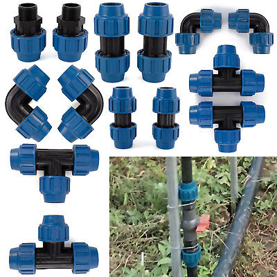 2x MDPE Plastic Compression 90 Degree Elbow Fittings For Water Pipe 25/32mm