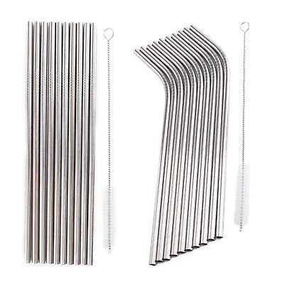 10x Stainless Steel Drinks Straw Drinking Reusable Party Bar BBQ Cleaner brush