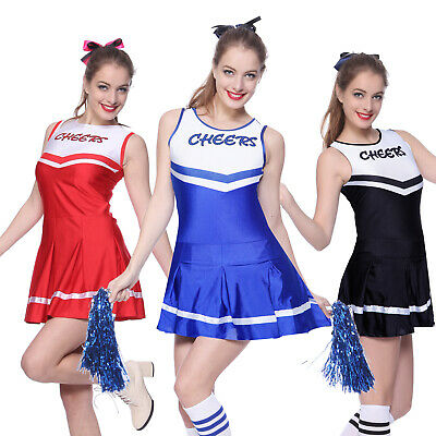 Cheerleader Costume Fancy Dress High School Musical GirlsOutfit +Pom Poms S M L