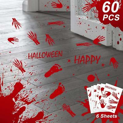 OurWarm 60pcs Halloween Decorations Bloody Handprint Footprint Window NEW