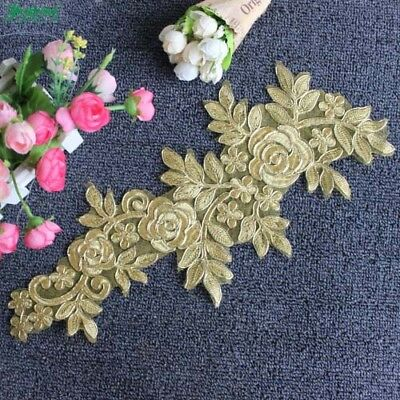 1Pair Floral Embroidery Applique Lace Flower Patch DIY Sewing Wedding Dress
