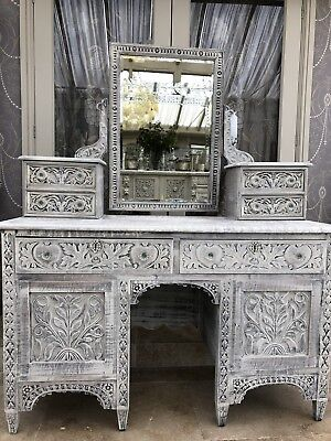 Antique Heavily Carved Oak Mirrored Dressing Table Furniture