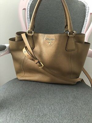 9f28ed717199 100% Authentic Prada Vitello Daino Tote In Brown Tan Pebbled Leather BN2435