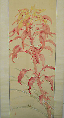 Antique Japanese scroll grasshopper signed