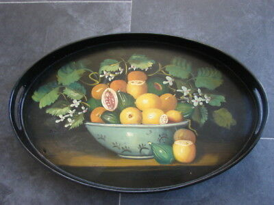 Oval Lacquered Hand Painted Tray with Upstand
