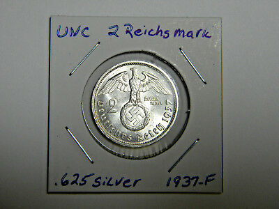 WW2 German 2 Mark Silver Coin 3RD Reich With Large Swastika Uncirculated 1937 F