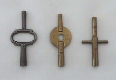 3 Brass / Steel Double Ended Carriage Clock Winding Keys