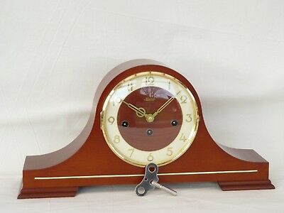 Hermle 8 Day Mahogany Westminster Napoleon Mantle Mantel Chime Clock