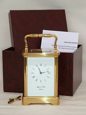 Superb Large Morrell & Hilton Solid Brass 8 Day Carriage Mantel Mantle Clock