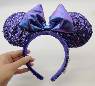 HONG KONG Disney Parks Purple Potion Iridescent Bow Sequin Minnie Ears Headband