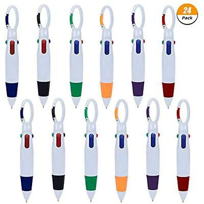 24 Pack Plastic Carabiner Shuttle Pens 4-in-1 Retractable Ballpoint Multicolor