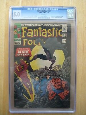 Marvel Comics 5.0 CGC FANTASTIC FOUR #52 1st black panther white pages