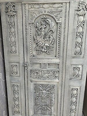 Heavily Carved Antique Oak Linen Press,cabinet carvings Of Cecaelia And Minerva
