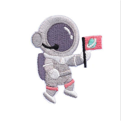 Astronaut Holding flag Satellite UFO Moon Embroidery Iron On Patch Clothing LH