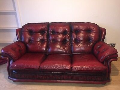Red Leather Chesterfield Sofa 3 Seater And Two 1 Seaters 30000