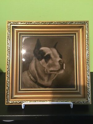 Tile Antique Sherwin & Cotton Pottery - Framed Bull Terrier Dog Decorated Tile